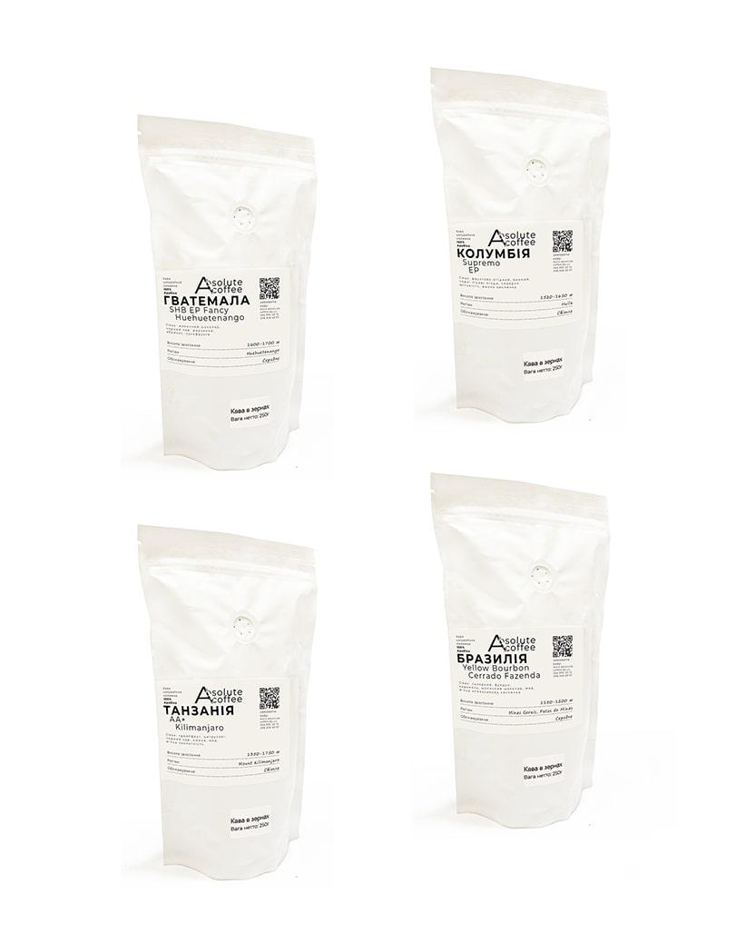 Свежеобжаренный кофе в зернах Набор 4 сортов арабики по 250 грамм | fruit | с кислинкой